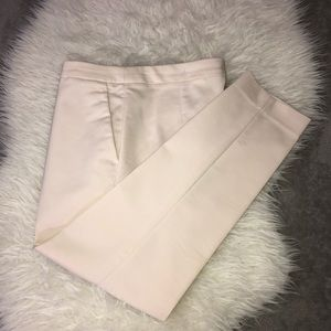 H&M Stretch Ivory Ankle Flat Front Pants Sz 8